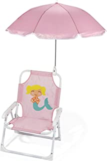 Heritage Kids Outdoor Beach Chair for Kids with Clip on Umbrella, Pink Mermaid