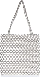 Miuco Damen Handtasche mit Perlenbesatz, handgefertigt, mit Innentasche
