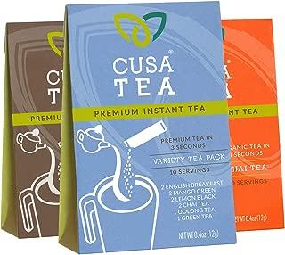 Variety Pack of Cusa Tea Premium Organic Instant Tea - Cold Brew Tea - USDA Organic Certified Tea - Zero Sugar, Preservatives or Flavorings (Variety Pack, English Breakfast, Chai)