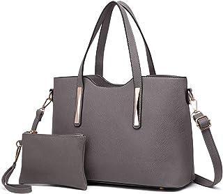 Bolsas de Señoras Moda Cuero Pu 2 Piezas Totalizador Bolsos de Hombro para Mujeres (Gris)