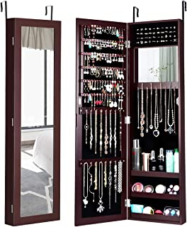 Giantex Jewelry Armoire Cabinet Wall Door Mounted with Full Length Mirror, Jewelry Organizer with Makeup Mirror, Ring Earring Slots, Necklace Hooks, Large Capacity Storage Jewelry Armoire (Brown)