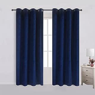 Cherry Home Set of 2 Velvet Flannel Blackout Curtains Panel Drapes Grommet Draperies Eyelet 52Wx96L inch Navy Royal Blue(2 panels)Theater| Bedroom| Living Room| Hotel