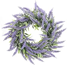 "HO2NLE Artificial Lavender Wreaths 14"" Fake Lavender Wreath Flowers Arrangements Spring Wreath for Front Door Wall Indoor ..."