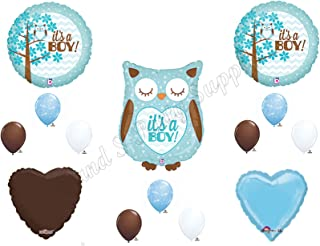 Baby Boy Owl Shower Balloons Decorations Supplies