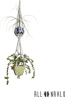 The Leticia Double Macrame Plant Hanger (1 Unit) by ALL NAHLO - Indoor Outdoor Hanging Planter Basket Cotton Rope