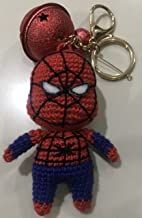 Ssaito Superhero Crochet Stuffed Doll (Includes Dead Pool, Captain America,Spider Man, and Iron Man) Great Gift Idea, Keychain, Planner Accessories, Soft Toy Handmade (Red - Spider Man, 4 inch)