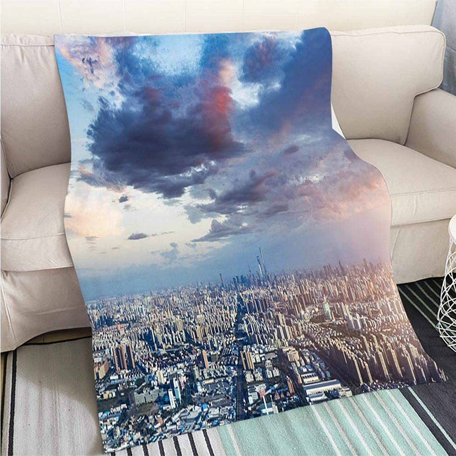 BEICICI Comforter Multicolor Bed or Couch Aerial View of Shanghai Fashion Ultra Cozy Flannel Blanket