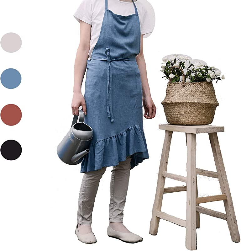ZI TENG Cotton And Linen Apron Fashion Solid Color Falbala Apron Fashion Coffee Shop Waist Kitchen Aprons Women Apron For Cooking Maid Apron Baking Gardening Black Bule Apron
