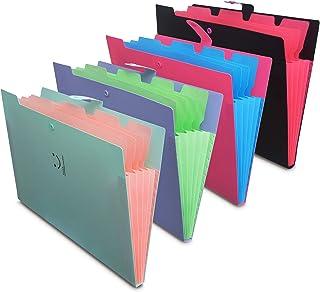 4 Pack Letter A4 Paper Expanding File Folders,Cute Plastic A4 File Folder Expanding Waterproof Pouch School Paper Fastener...