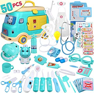 Anpro Car Model Doctor Toy Set, Doctor Role Playing Set for Girl and Boys, 50pcs Medical Pretend Play Toy Kids Doctor Kit with Car Model Storage Box, for Birthday and Chrismas esc.