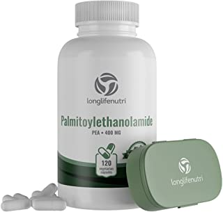 Palmitoylethanolamide 400 mg - 120 Vegetarian Capsules | Micronized Pea Pills | Made in USA | Supports Pain Management | P...