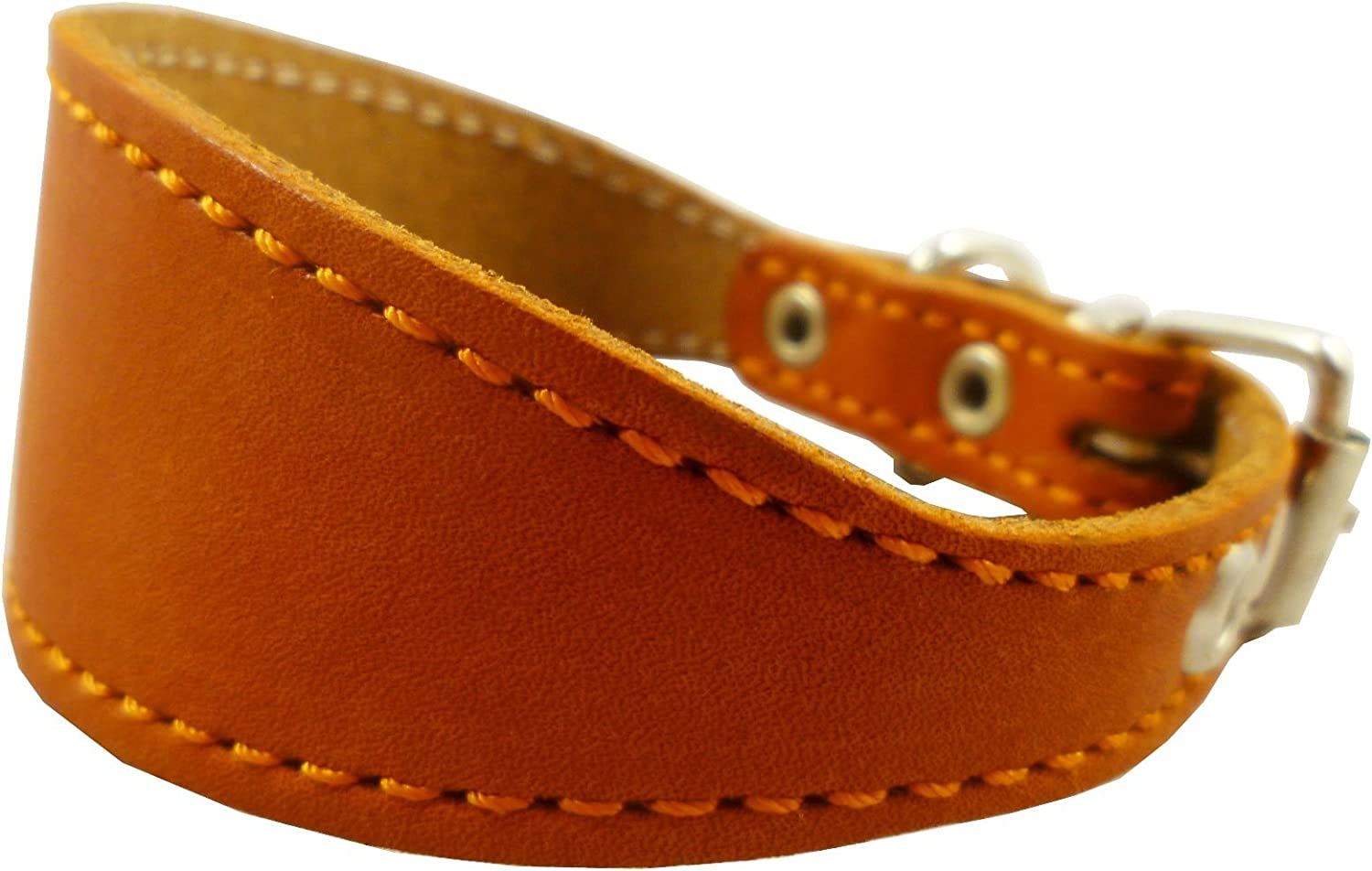orange Real Leather Tapered Dog Collar 1,5  Wide, Fits 8.5 10.5  Neck, Small, Dachshund