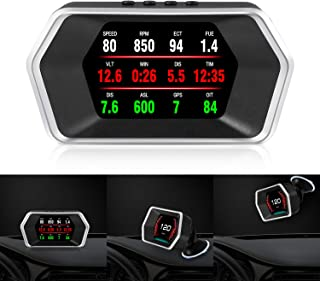 Car Head Up Display, iKiKin OBD2/GPS Dual Systems Digital Car GPS Speedometer with Compass Test Brake Test Fault Code Reader Engine RPM OverSpeed Alarm Water Temperature for All Vehicle