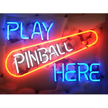 New PINBALL GAME ARCADE REAL GLASS NEON LIGHT BEER BAR PUB SIGN 17/'/'x14/'