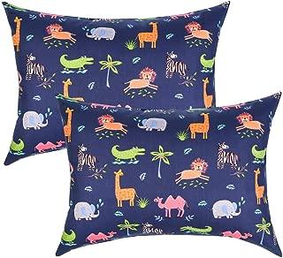 IBraFashion Toddler Pillowcases 100% Cotton 14x19 for 13x18, 12x16 Pillow Set of 2 (Animals Navy Blue)