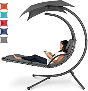 Best Choice Products Outdoor Hanging Curved Steel Chaise Lounge Chair Swing w/Built-in Pillow and Removable Canopy - Charc...