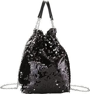 Women Drawstring Bucket Bag Reversible Mermaid Sequin Chain Shoulder Bag Crossbody Handbags