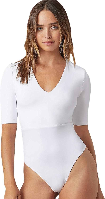 Floerns Women's Basic V Neck Short Sleeve Skinny Solid Bodysuit Shirt