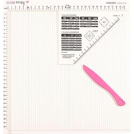 Vaessen Creative Score Easy Plaque de Rainurage en CM avec Plieuse Os et Guide pour Fabriquer des Cartes et des Loisirs Créatifs avec du Papier, Blanc Cassé, 30,5 x 30,5 cm