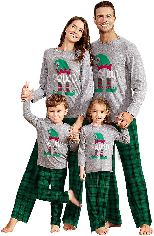 IFFEI Matching Family Pajamas Sets Christmas PJ's Squad Print Grey Top and Plaid Bottom Sleepwear Men XL