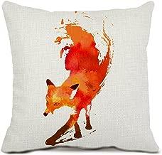 Decorative Animal Fox Throw Pillow Cover Cotton Linen Pillowcase with Hidden Zipper for Home Decor Cushion Cover 18 Inches
