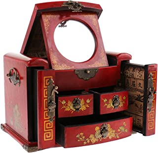 Blesiya Vintage Exquisite Chinese Wooden Dressing Table Dresser Jewelry Box - Red, as described
