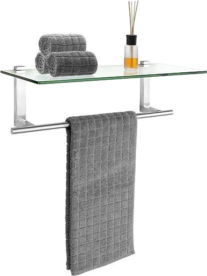 WENKO Estantería en acero inox con toallero Venosa - Estantería de baño con toallero de barra, Acero inoxidable, 24.5 x 18.5 x 60 cm, Mate