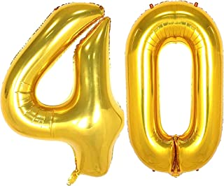 Gold 40 Numbers Balloon Foil Mylar Giant Jumbo 40 Balloons for Men Women 40th Birthday Party Supplies 40 Anniversary Event...