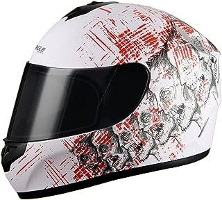 Triangle motorcycle Street Bike Smoked Visor Full face helmet DOT (X-Large, Matte White)