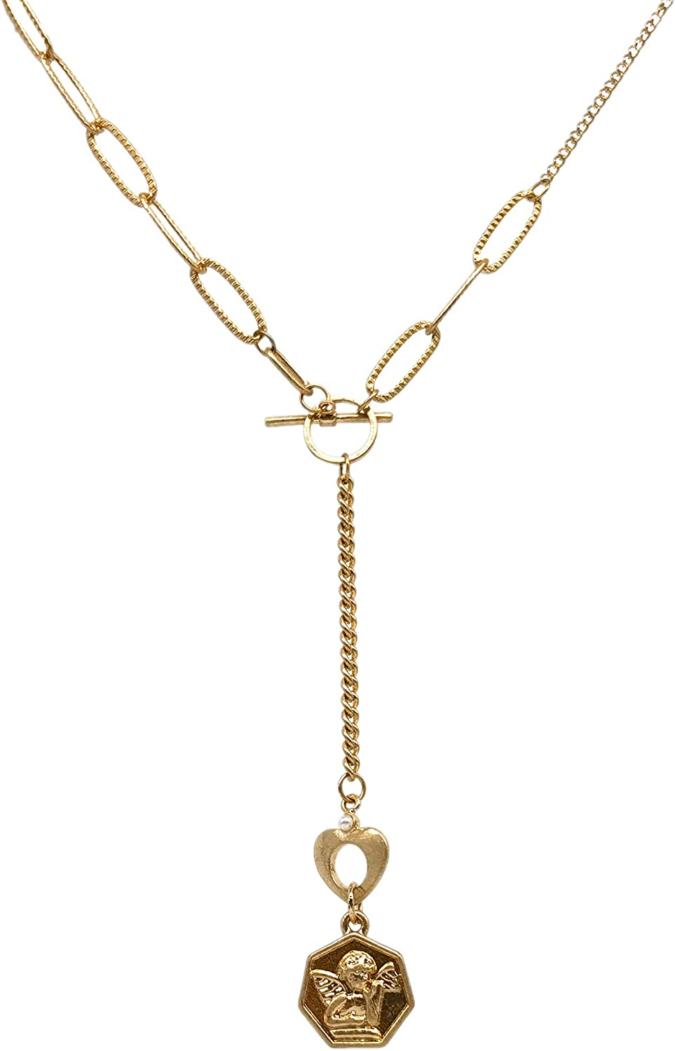 Vintage Cupid Coin Y necklace Matte Gold-plated brass 16