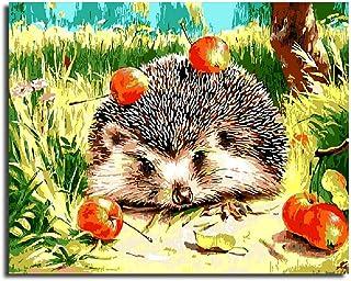 Pintura De Bricolaje Por Número Kits Lienzo Pintura Al Óleo Regalo Para Adultos Niños Decoraciones Para El Hogar Erizo Y Fruta Silvestre. 16×20