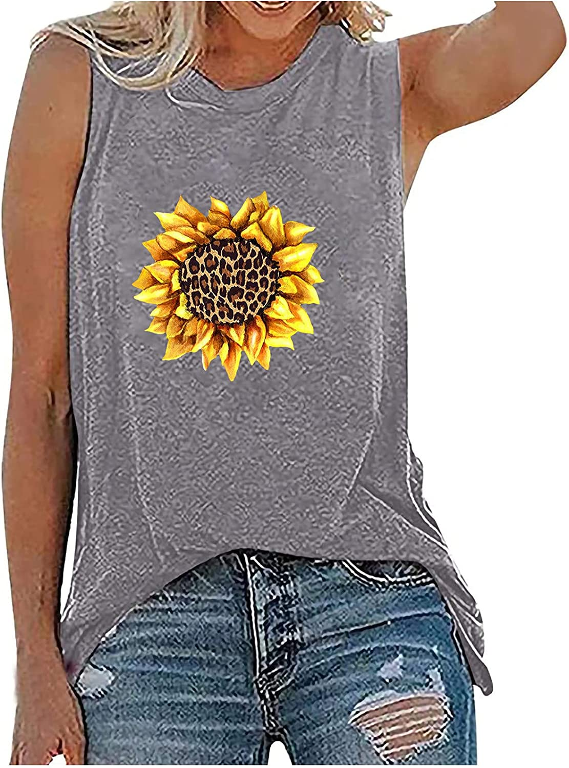 Women's Casual Printing Crew Neck Sleeveness Tops Loose Vest Blouses Summer Tops Tee Shirts Blouse
