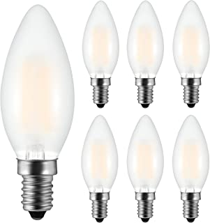 6 Pack, E14 LED Dimmable Filament Candle Light Bulbs, Frosted LED Bulb 2700K Warm White, 6W C35 Small Edison Screw Candelabra LED Bulb, 60W Incandescent Bulb Equivalent