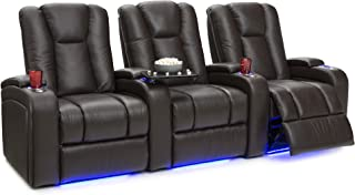 Seatcraft Serenity Leather Home Theater Seating - Power Recline (Row of 3, Brown)