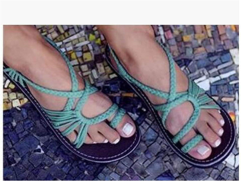 Women's Sandals Large Size Women's Sandals Rope Knot Summer Beach Toe Flat Sandals,Quality goods2,10