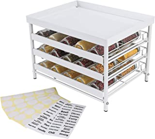 Upgrade Version - TQVAI Stackable 30 Jars 3-Tier Spice Rack Organizer with Pull Out Drawers and Labels - Fit for Countertop, Cabinet, Pantry - White