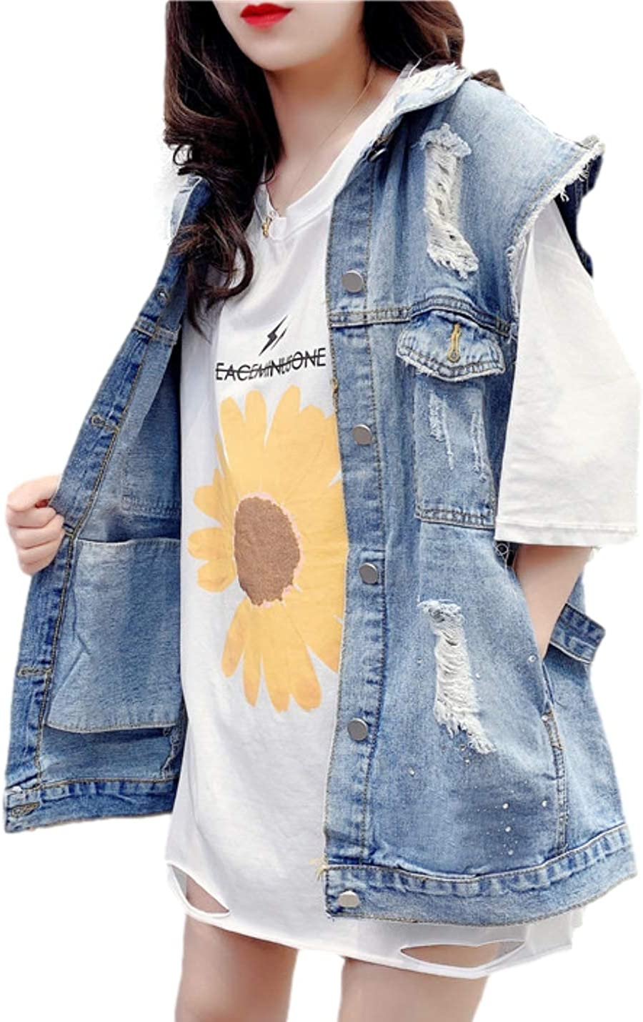 Bnigung Women's Distressed Sleevelss Denim Vest Casual Oversized Ripped Holes Outwear Jacket