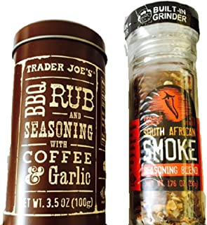 Gourmet Bundle -- 2 Trader Joe's Items: BBQ Rub and Seasoning with Coffee & Garlic and South African Smoke Seasoning
