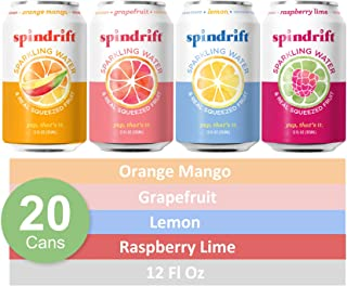 Spindrift Sparkling Water, 4 Flavor Variety Pack, Made with Real Squeezed Fruit, 12 Fl Oz Cans, Pack of 20 Seltzer Water Cans