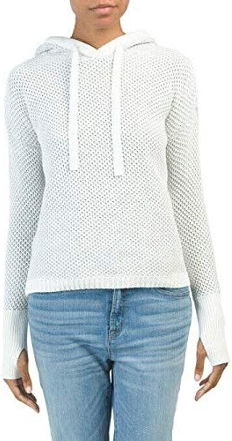 RACHEL ZOE Textured Hoodie Pullover Sweater Thumbholes Ribbed Trim Knit 100% Cotton White-Grey