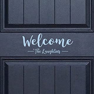 Front Door Decor - Home Wall Decoration - Welcome Personalized Door Sign Vinyl Art Decal