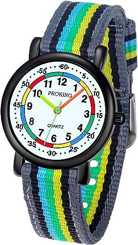 Reloj analógico para niños, 5ATM Resistente al Agua, fácil de Leer, Enseñanza del Tiempo Niños niñas Reloj, Reloj de ...