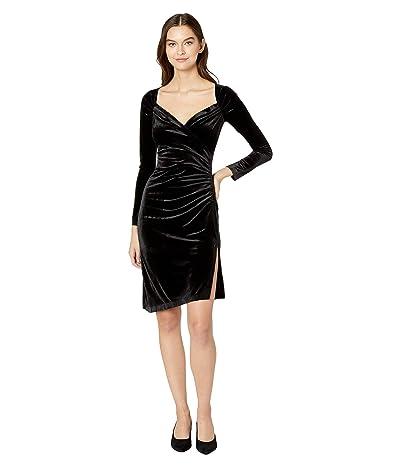 KAMALIKULTURE by Norma Kamali Long Sleeve Sweetheart Side Drape Dress to Knee (Black) Women