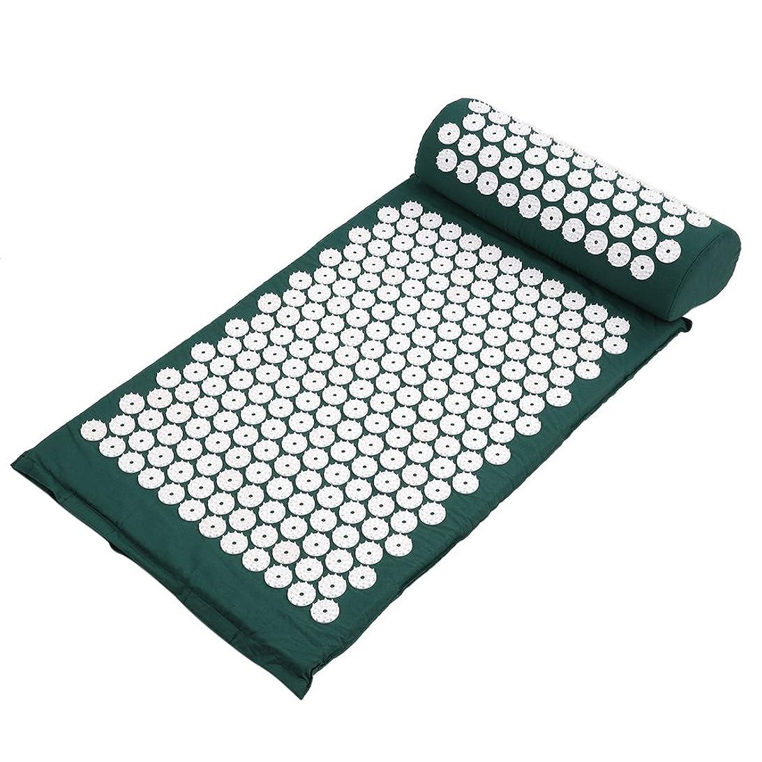 小売交響曲雇ったDecdeal ヨガマット マッサージクッション 指圧マット枕 折り畳み 健康 血流促進 (みどり)