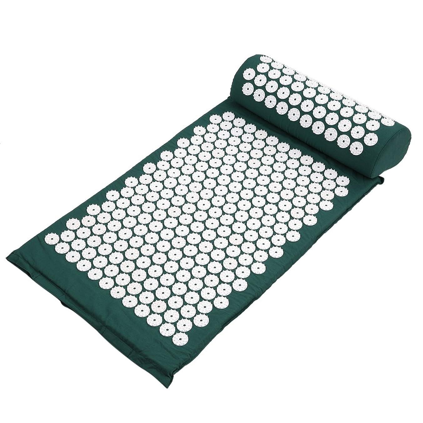 ライトニングブート郵便番号Decdeal ヨガマット マッサージクッション 指圧マット枕 折り畳み 健康 血流促進 (みどり)
