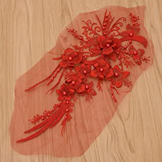 MOPOLIS 3D Flower Embroiderey Beaded Lace Applique Lace Trim Fabric for Wedding Dress | Color - Red