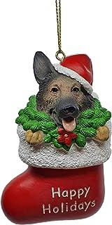German Shepherd Dog in Red Stocking Holiday Christmas Tree Ornament Xmas Decoration