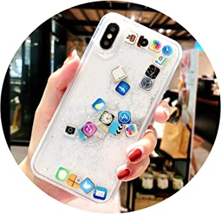 Cute Apps Icon Emoji Glitter Case for iPhone X Xr Xs Max 7 8 6 6S Plus Clear Transparent Back Cover Liquid Quicksand Phone Cases,Silver,for iPhone Xr