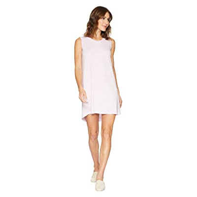 Allen Allen Stripe Short Tank Top Dress (Pink/White Stripe) Women