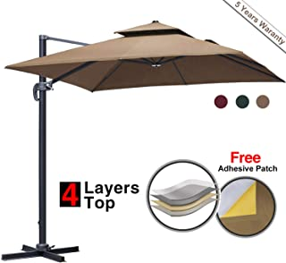 Patiassy 10 Feet Double Top Square Patio Umbrella Offset Hanging Umbrella Outdoor Market Garden Cantilever Umbrella, 5 Years Non-Fading Fabric + All Aluminum Custom Frame (10 ft patio umbrella, Beige)